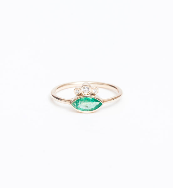 Emerald Marquise & Graduated Bezel Diamond Ring
