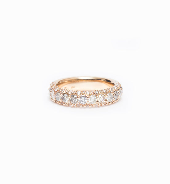 Grey Diamond Celestine Half Eternity Pavé Band