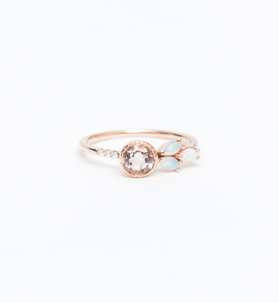 Morganite Opal Leaf Ring