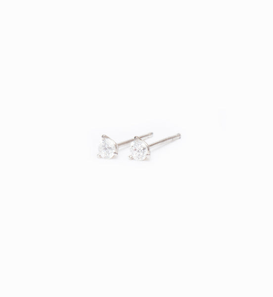 White Gold Three-Prong Diamond Studs