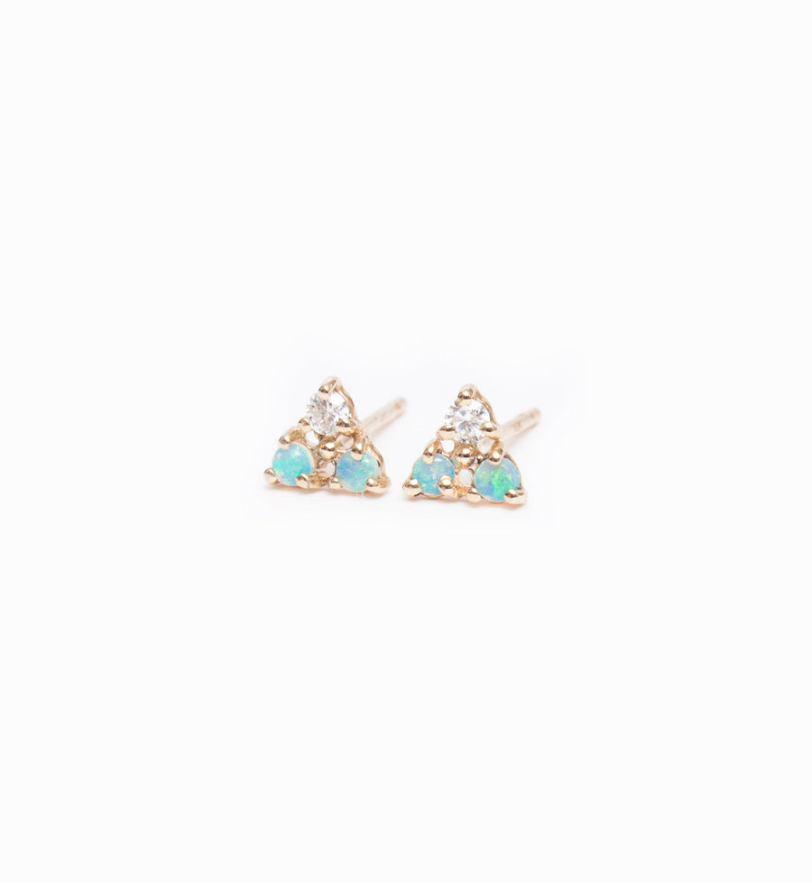 Tri-Opal & Diamond Stud Earrings