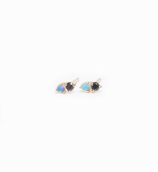 Two-Step Opal & Black Diamond Earrings