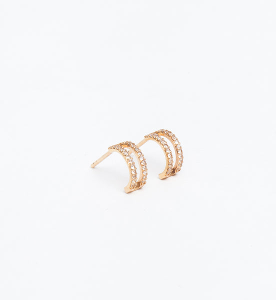 Gold Vermeil & White Sapphire Split Layer Earrings