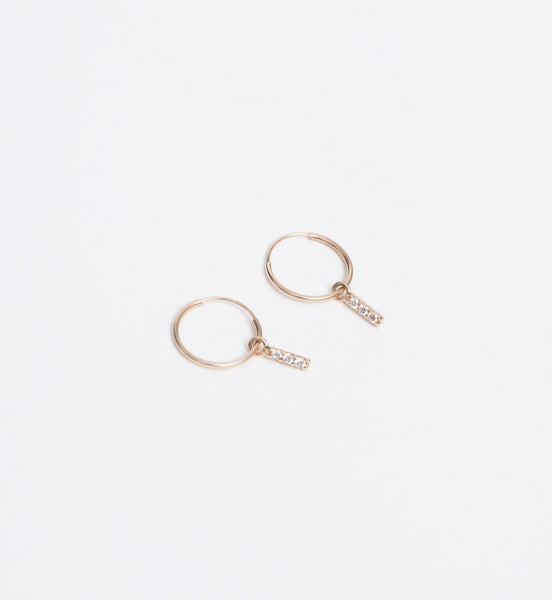 Tiny Hoop with Three Diamond Bar Earrings