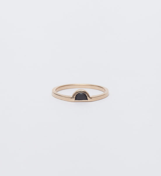 Half Moon Black Jade Ring