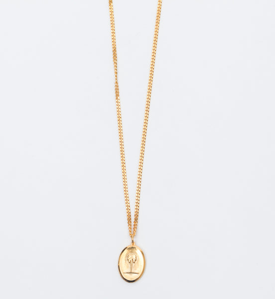 Gold Vermeil Palm Tree Pendant Necklace