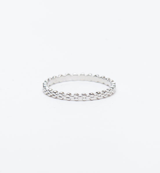 White Gold Three Bead Stacking Ring