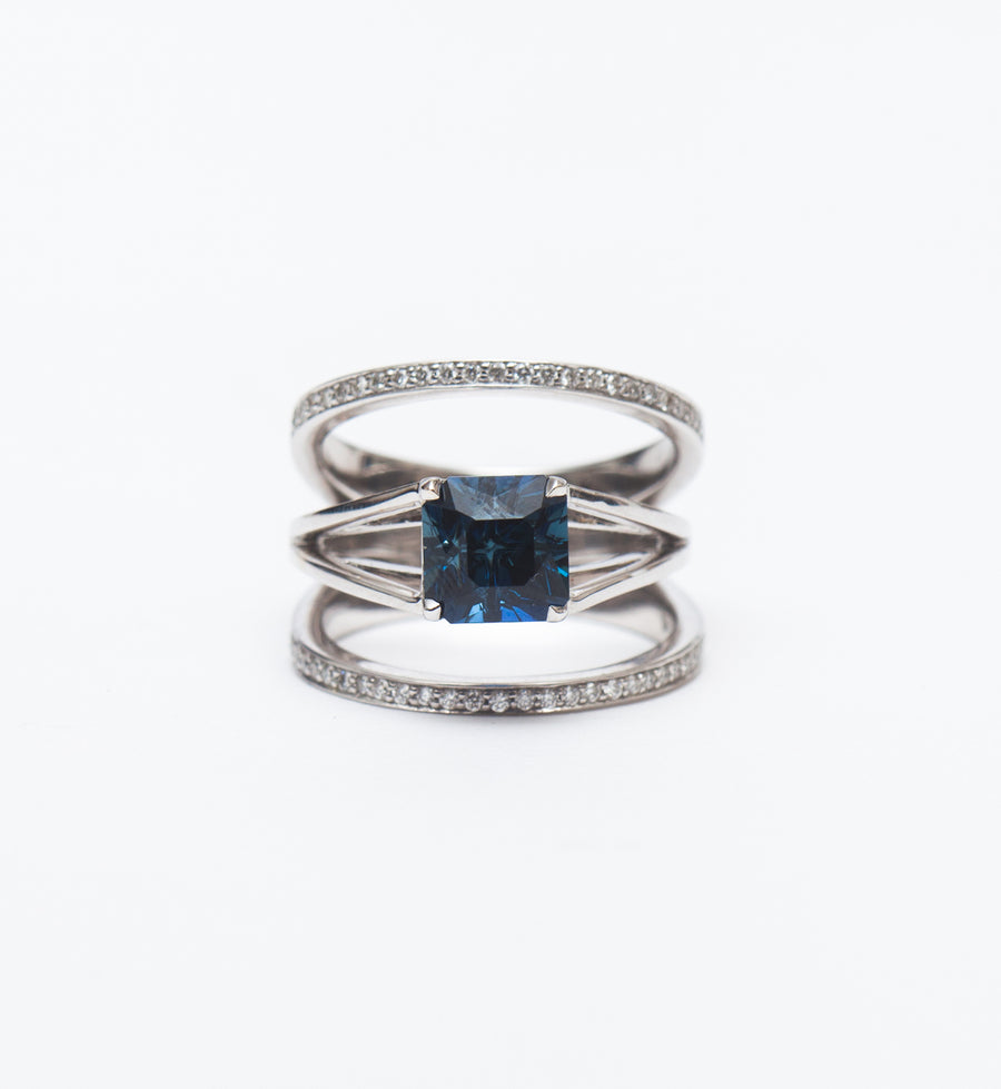 Nigerian Sapphire Centered & Acute Ring Set