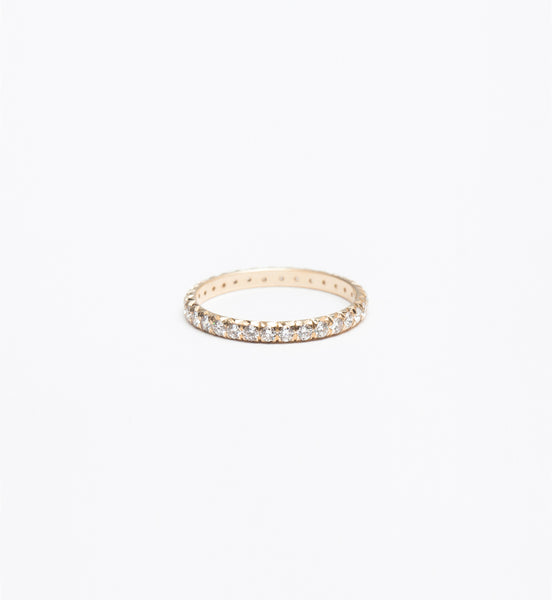 Gold & White Diamond 2 mm Attelage French-Cut Pavé Band