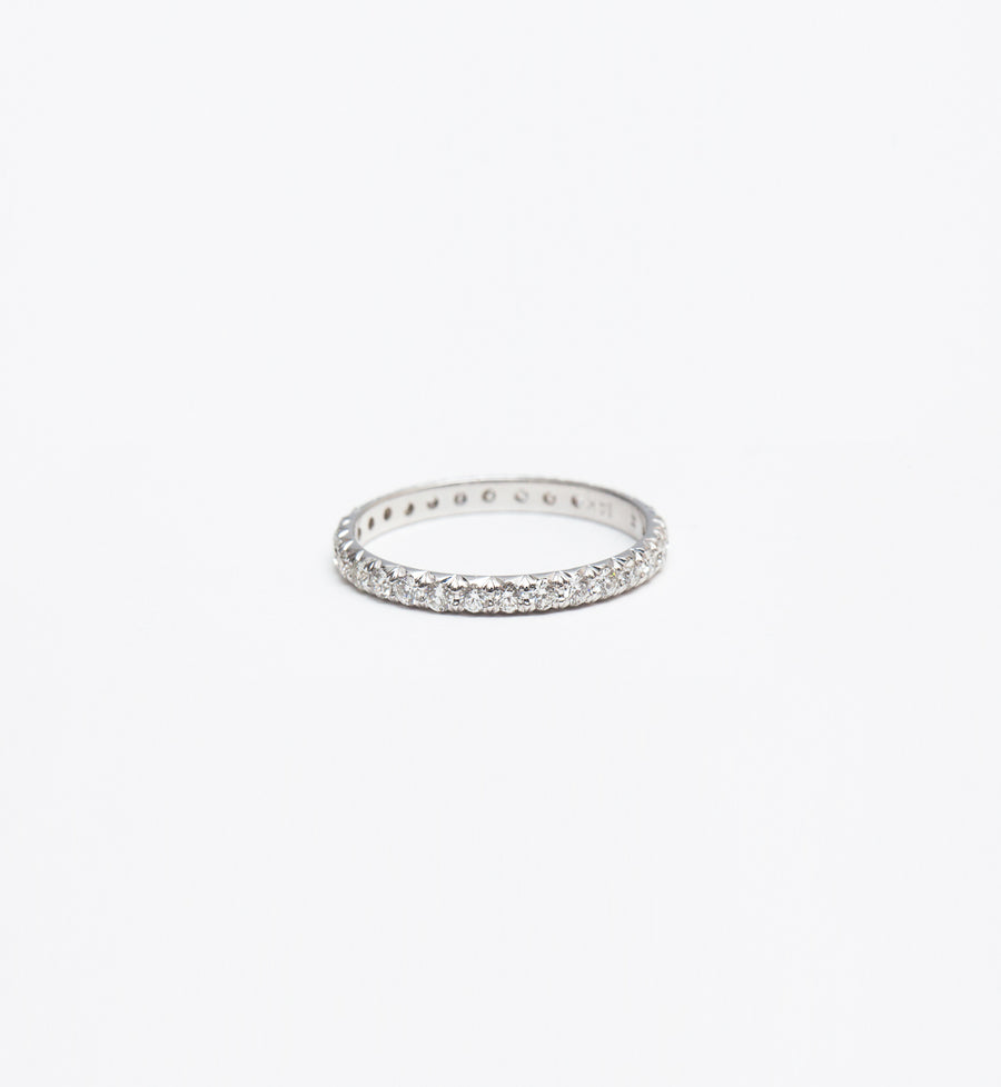 White Gold & White Diamond 2 mm Attelage French-Cut Pavé Band