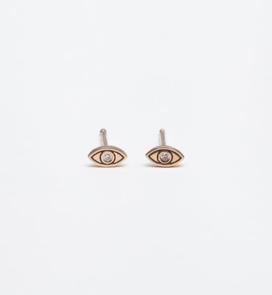 Diamond Itty Bitty Evil Eye Studs
