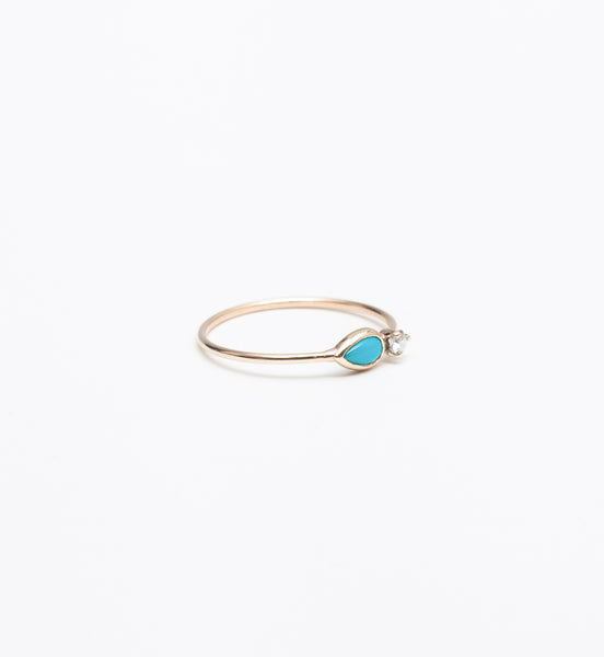 Turquoise Teardrop & Prong Set Diamond Ring
