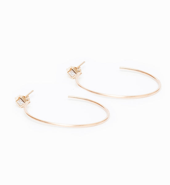 Medium Princess Stud Hoop Earrings