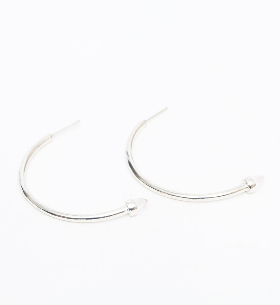 Silver/Rose Quartz Zenith Hoops