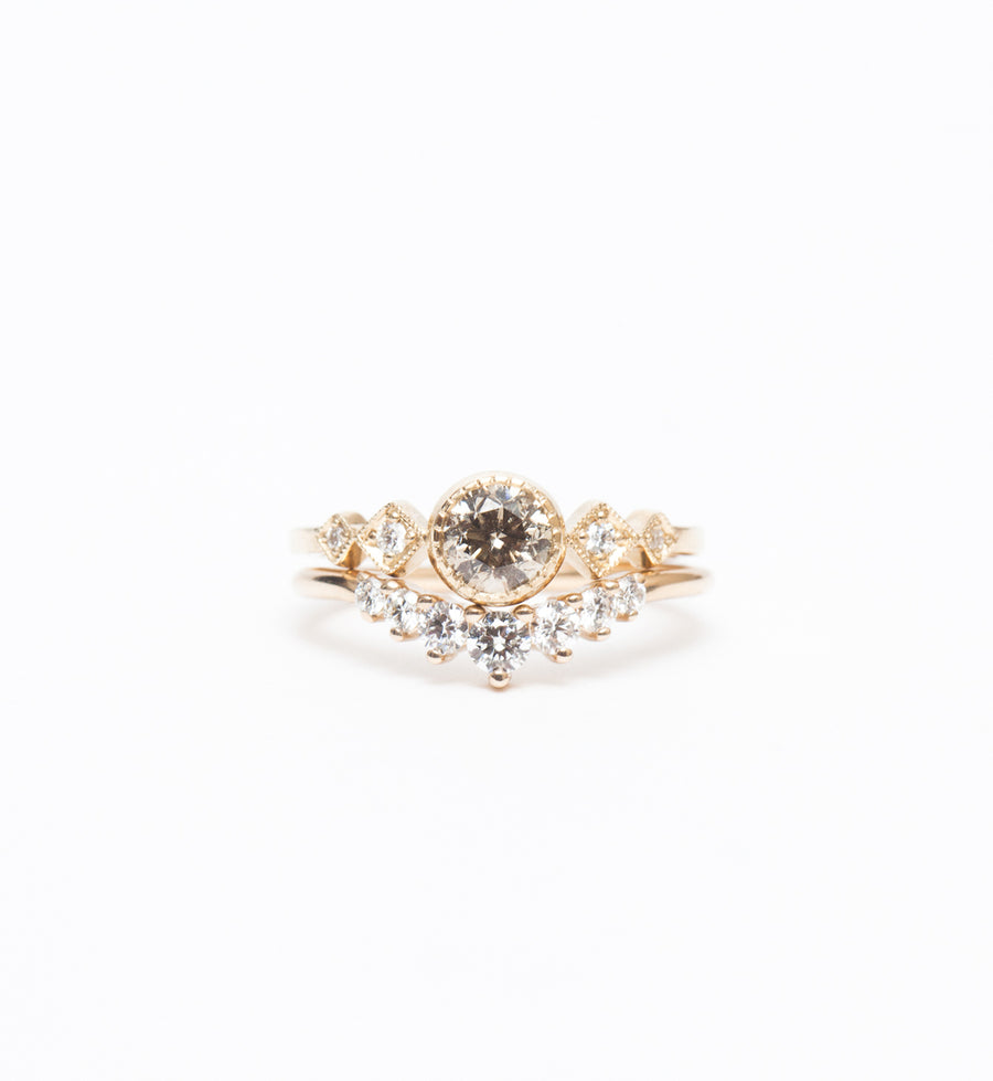 Champagne Diamond Solitaire Echo Ring