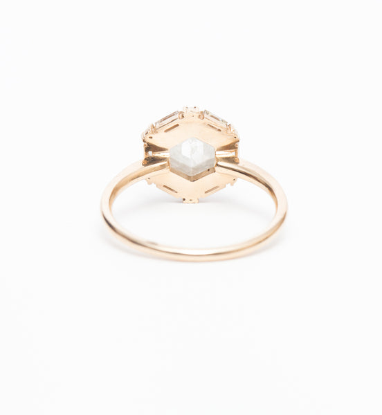 Cora Hexagon Halo Ring