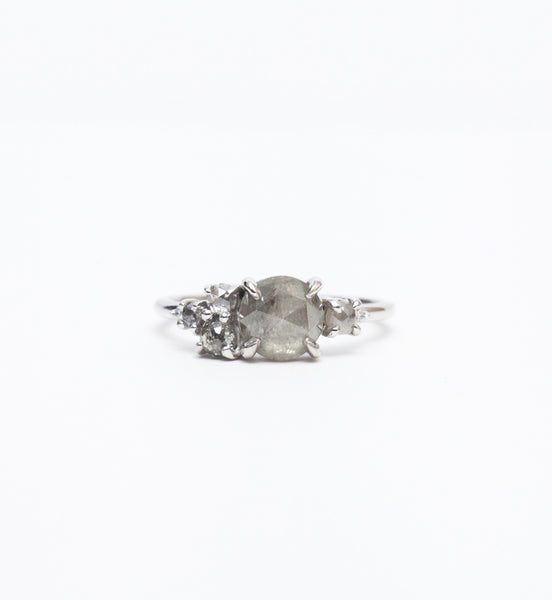 Grey Rose-Cut Diamond Cluster Ring