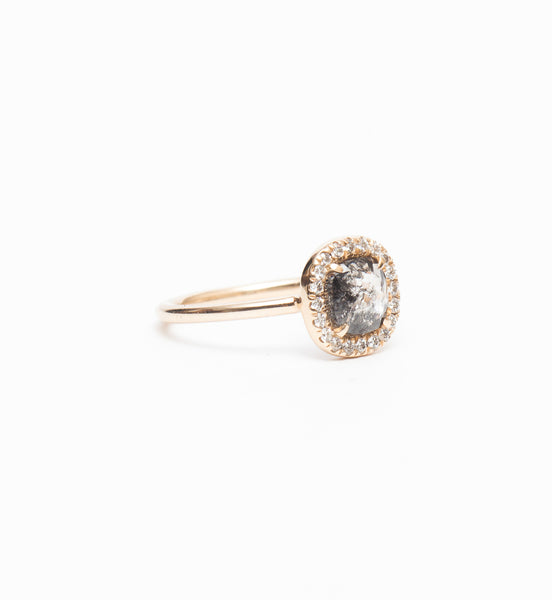 Black Cushion Diamond Halo Ring