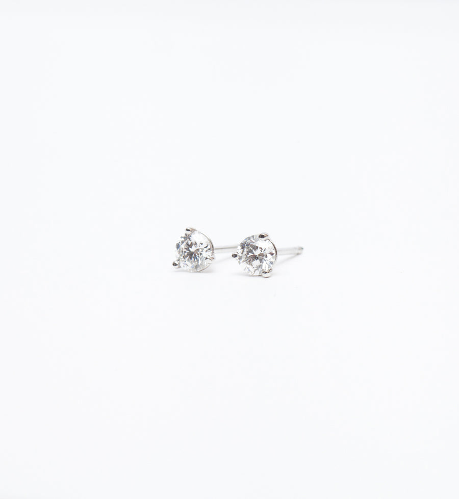 White Gold 0.50 ctw Three-Prong Diamond Studs