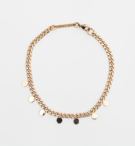 Itty Bitty Round Disc Curb Chain Bracelet