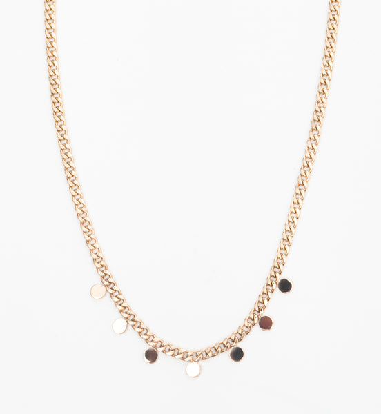 Itty Bitty Round Disc Curb Chain Necklace