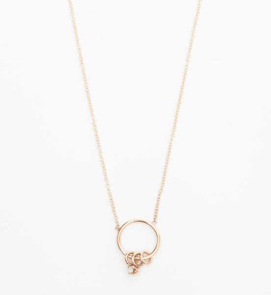 Circles & Prong-Set Diamond Charm Necklace