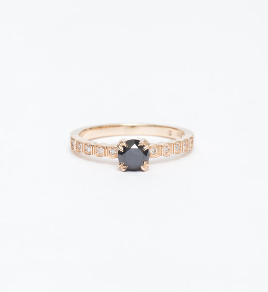 Black Diamond Tiny Wheat Engagement Ring