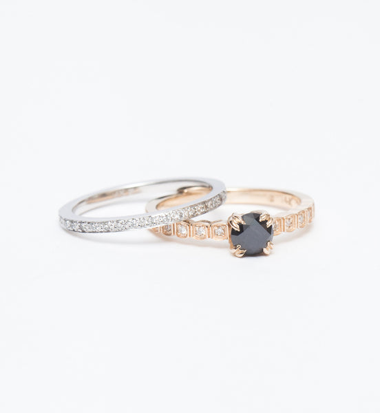 Black Diamond Wheat Engagement Ring