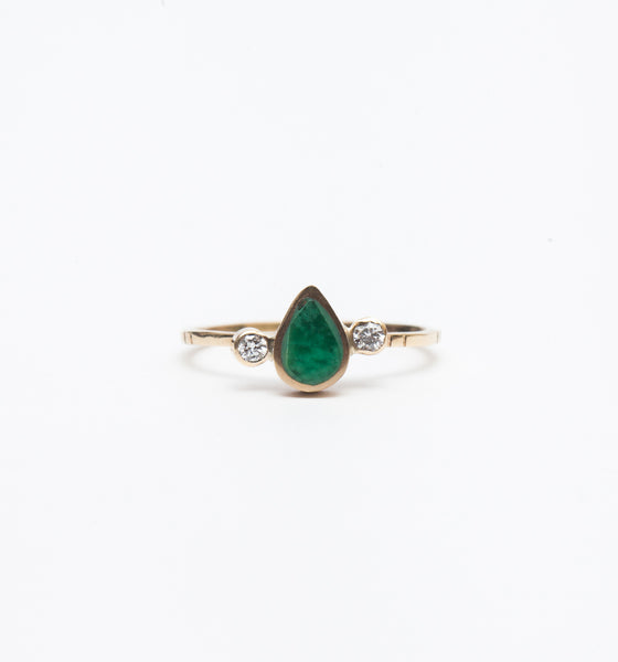 Variscite Teardrop Diamond Ring