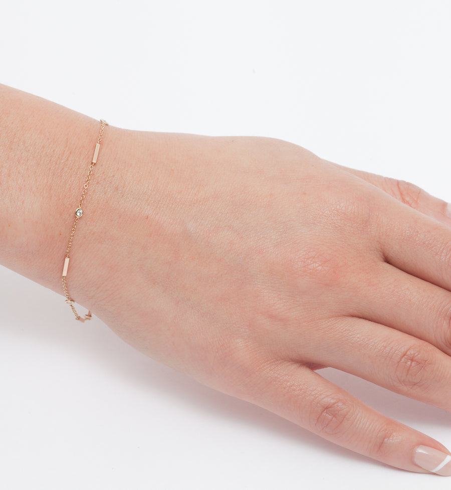 Horizontal Tiny Bars & Floating Diamonds Bracelet