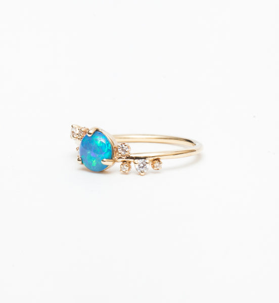 Large Organic Crossover Opal & Diamond Ring