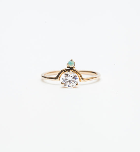 Medium Nestled Diamond & Opal Ring