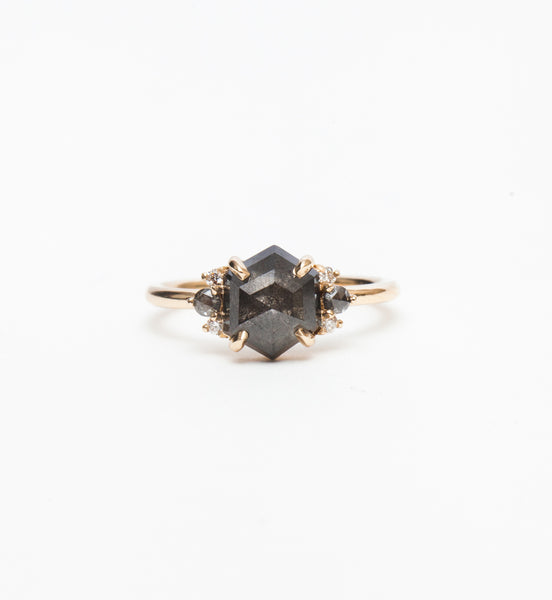 Grey Diamond Hexagon Charlotte Ring