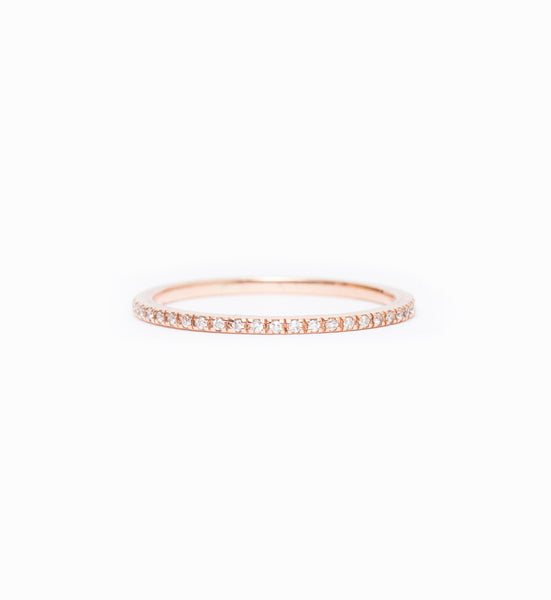 Rose Gold & White Diamond Clair Eternity Band: Front