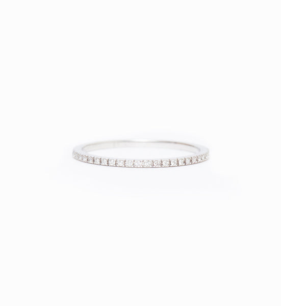 White Gold & White Diamond Clair Eternity Band: Front