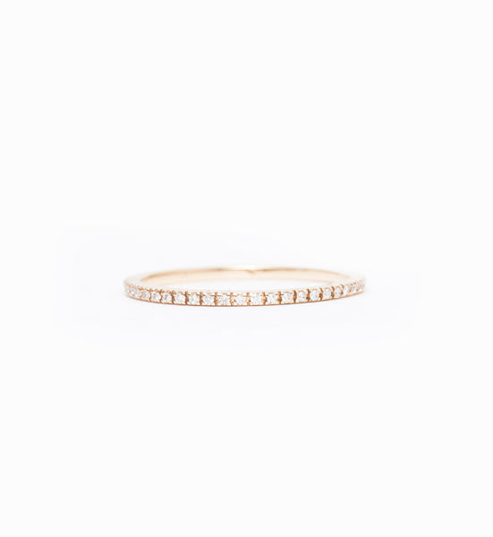 Gold & White Diamond Clair Eternity Band: Front