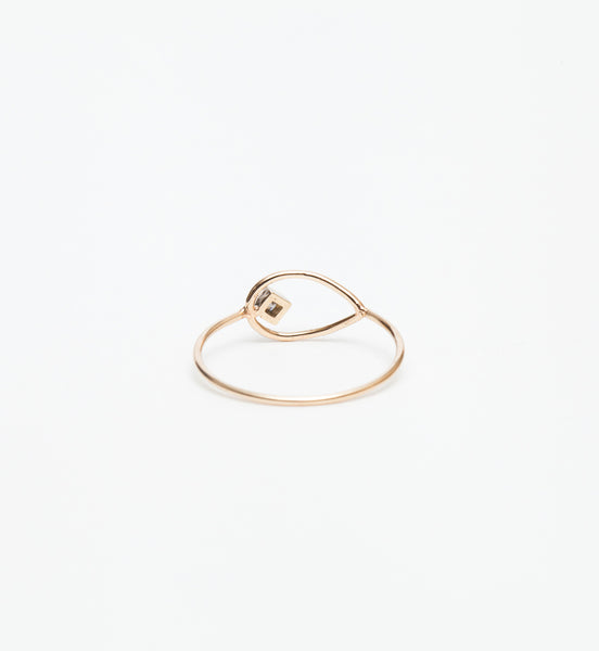 Horizontal Open Tear Princess Diamond Ring