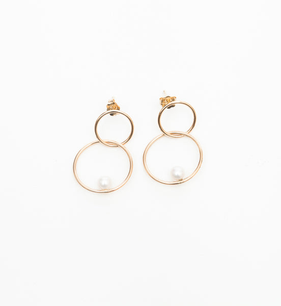Floating Pearl Double Circle Hoop Earrings