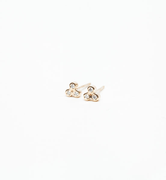 Tiny Trio Diamond Stud Earrings