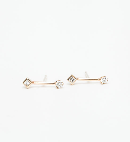 Barbell Prong & Princess Diamond Studs