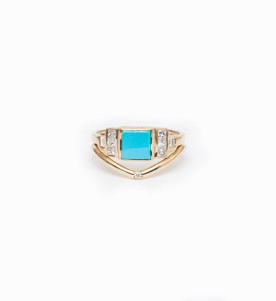 Square Turquoise Band: Worn with Peak Band with Single Diamond