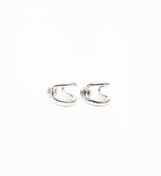 White Gold Twin Tusk Earrings