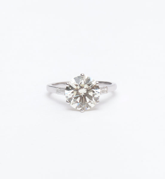 3.17 ct Transitional-Cut Accented Engagement Ring