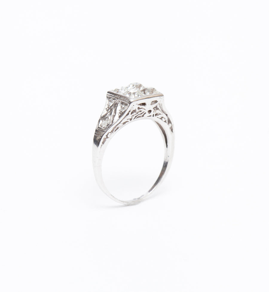 Art Deco French-Cut Diamond Square Top Ring