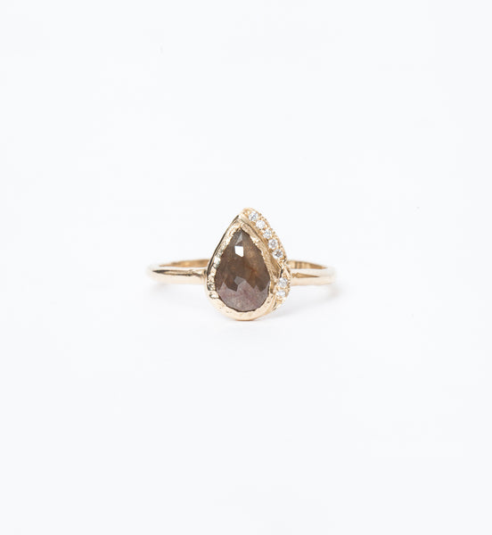 One-of-a-Kind Rustic Diamond Raindrop Ring