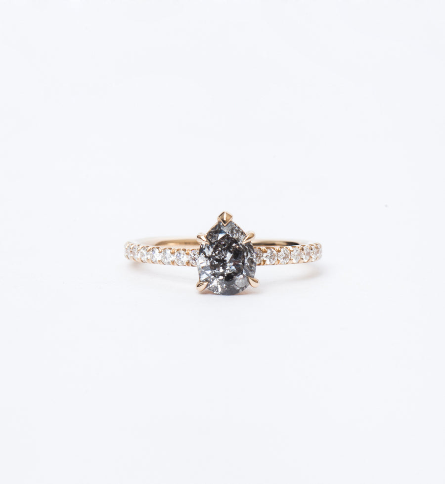 Galaxy Grey Pear Diamond Eleonore Pavé Ring