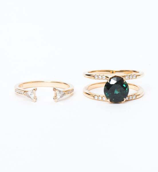Green Sapphire Illuminate-Magnetic Ring Set