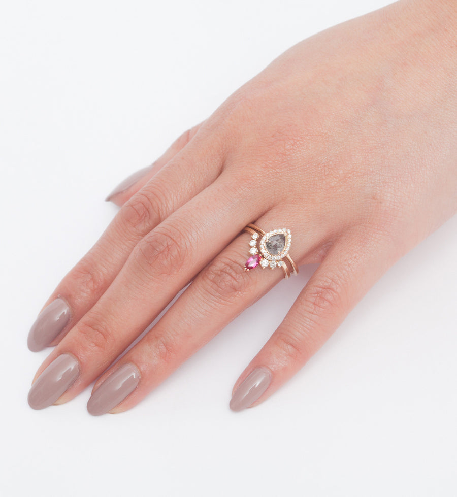 Grey Diamond Pear Rosette Ring