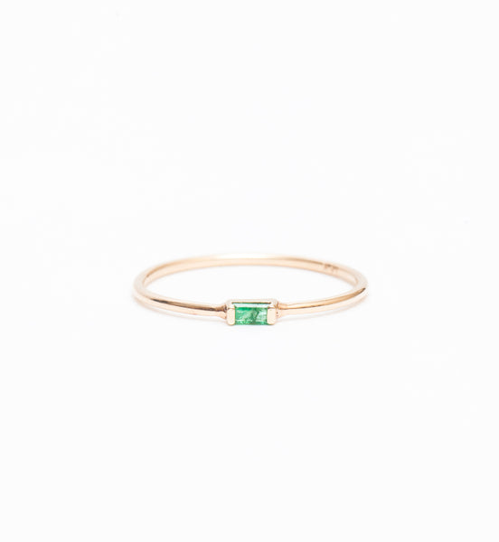 Horizontal Emerald Baguette Ring
