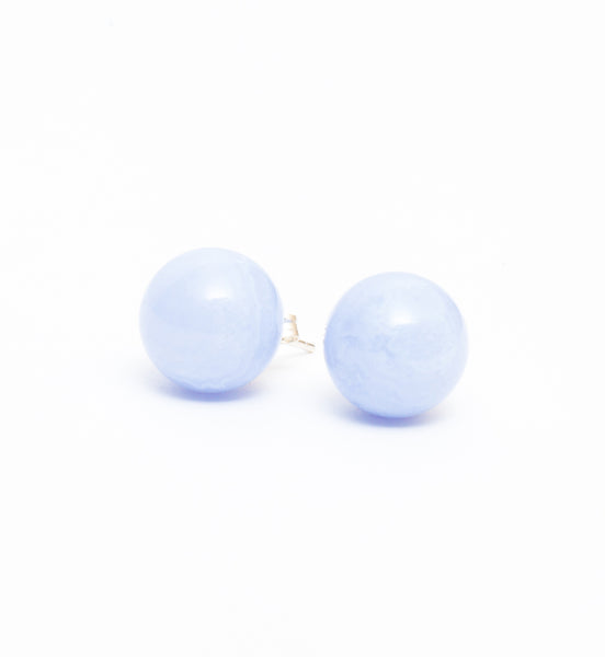 Blue Lace Agate Gem Sphere Studs
